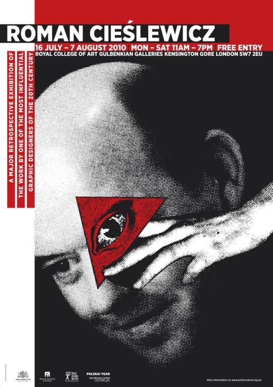 Plakat do londyńskiej wystawy Cieślewicza projektu Andrzej Klimowskiego iJeffa Willisa.