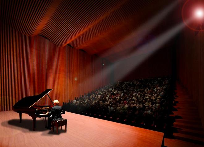 Prawdziwi melomanii przetestują walory akustyczne sali za trzy lata. fot. Konior Studio