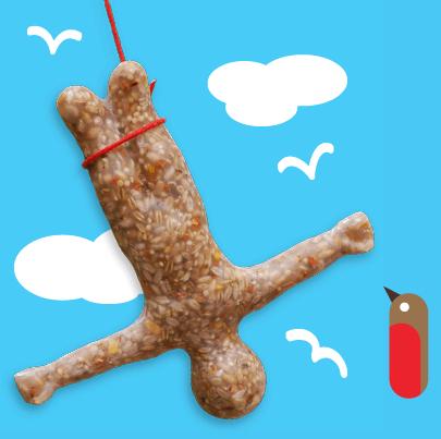 Skoczek na bungee zrobiony z ptasich przysmaków, zaprojektowany przez  Mitchella Robinsona. Kosztuje 10 funtów. fot. ARC