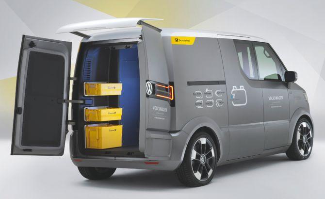 Nowy volkswagen dzięki silnikom elektrycznym umieszczonym w piastach kół, będzie poruszał się po centrach miast nie emitując szkodliwych substancji. fot. Materiały prasowe