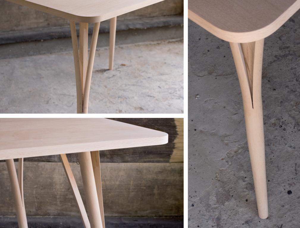Stół wykonano z litego drewna bukowego. Nogi stołu zostały wytoczone, podzielone na 3 części i wygięte na gorąco w celu zwiększenia ilości punktów podparcia. fot. Materiały prasowe