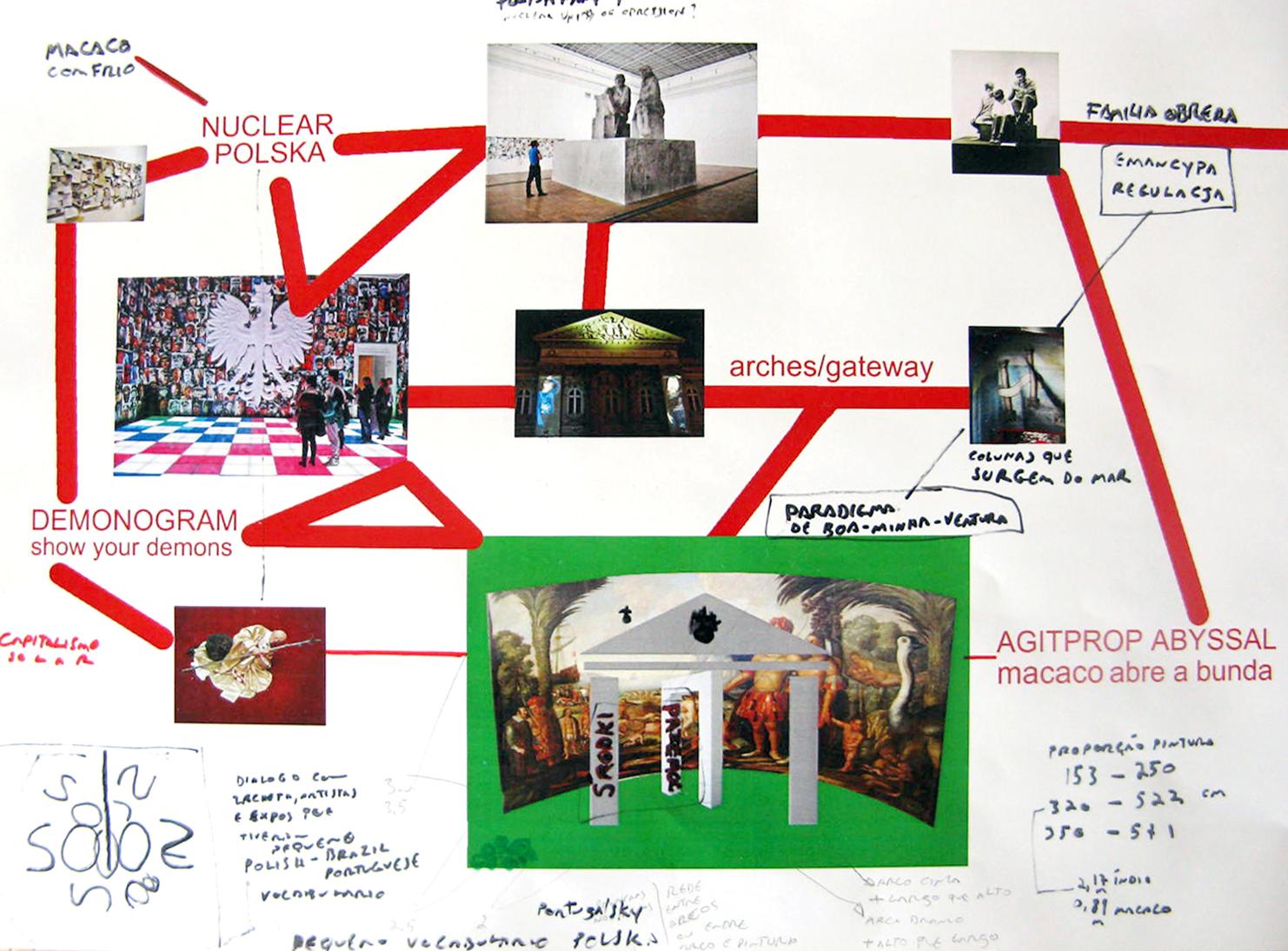 Leandro Nerefuh, Demonográfico (Demonografia) - szkic do plakatu propagandowego z prorokiem, istotą pogańską i ochotnikami, 2013, technika mieszana, dzięki uprzejmości artysty