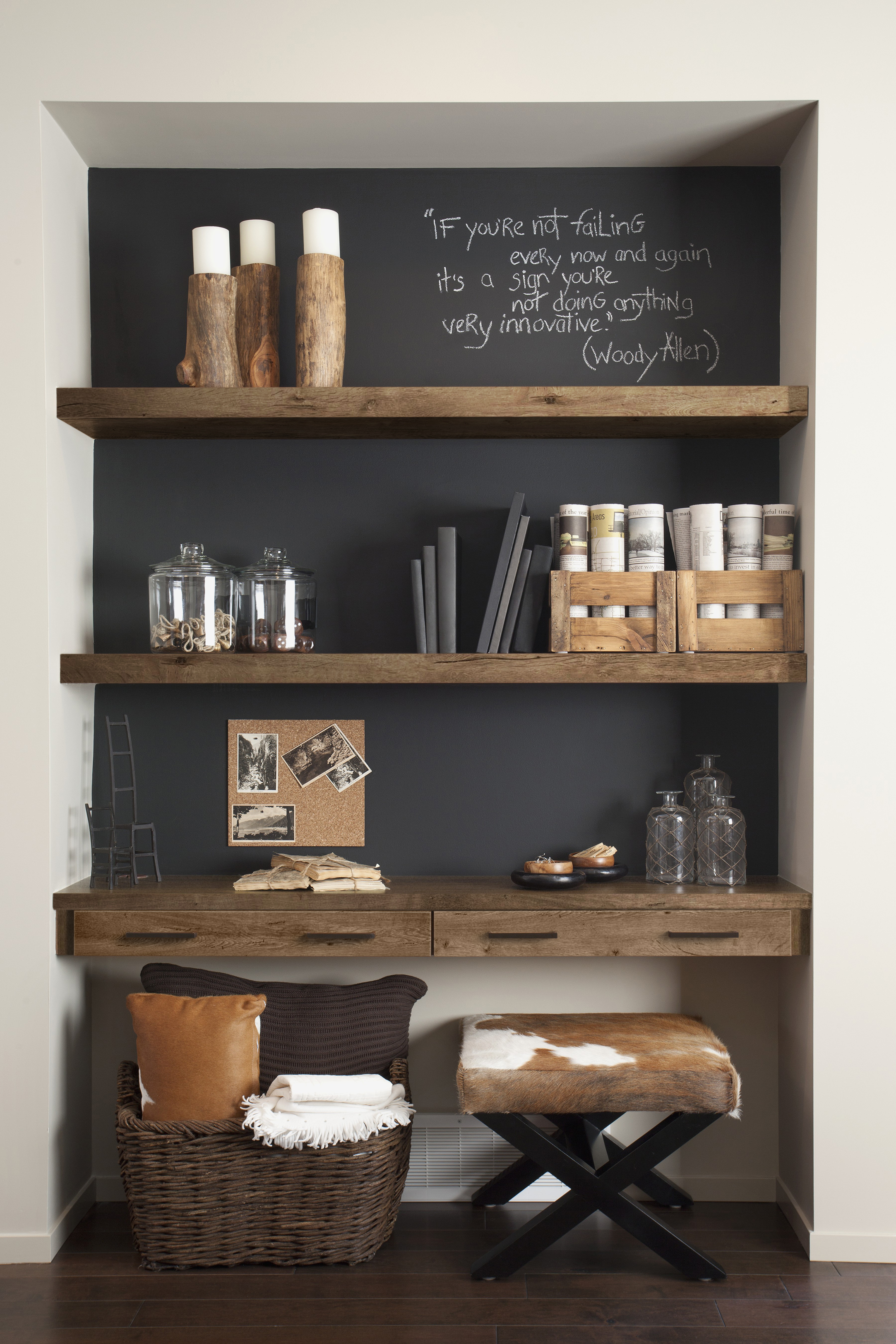 Objects on wooden shelves at home