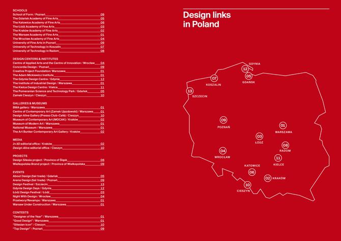 Publikacja stanowi praktyczny przewodnik dla tych, którzy zechcą wybrać się na wycieczkę podążając szlakiem polskiego designu.