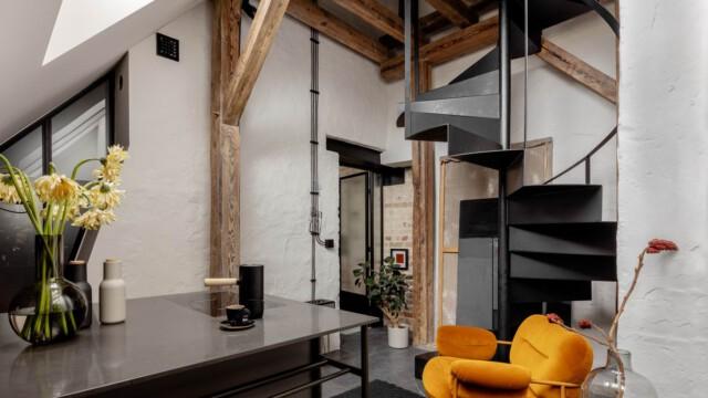 Dawna suszarnia na poddaszu przekształcona w loftowy apartament