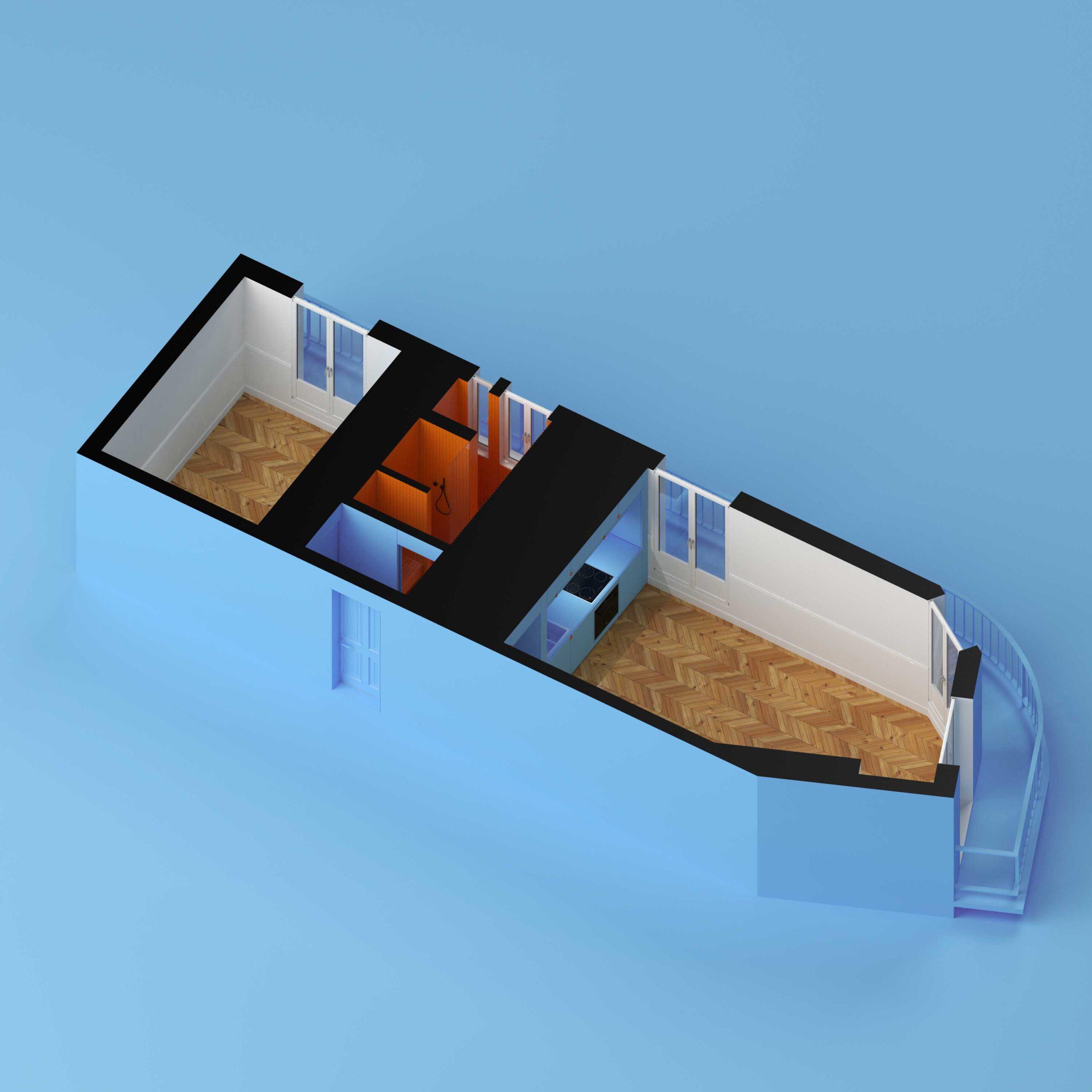 kawalerka blue cube