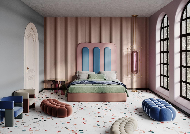 Polskie łoża inspirowane stylem Memphis